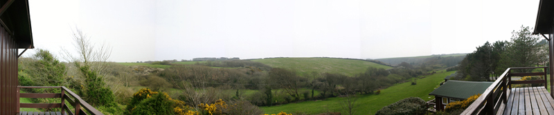 Panorama from the verandah of our Pembrokeshire self-catering holiday home at Timber Hill